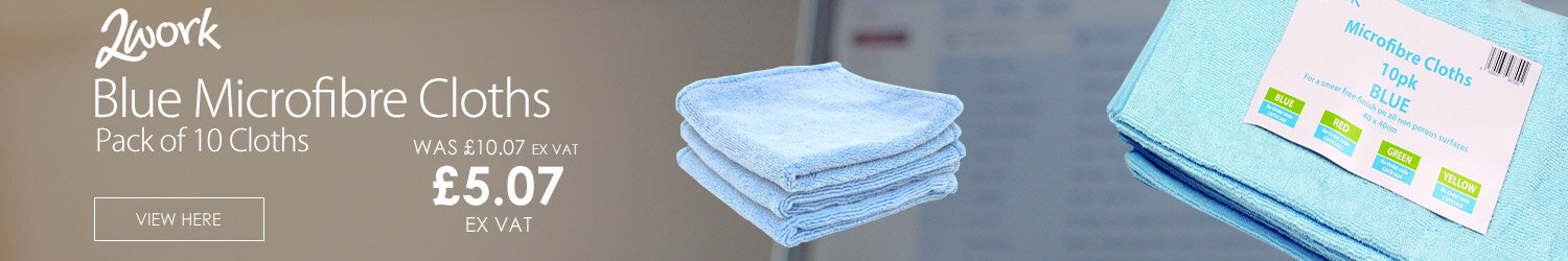 2Work Blue 400 x 400mm Microfibre Cleaning Cloths (10 Pack) 101161BU