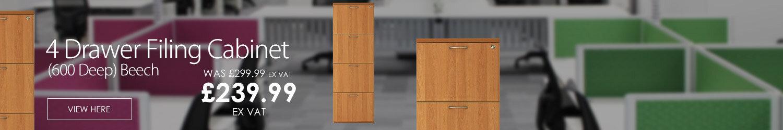 4 Drawer Filing Cabinet (600 Deep) Beech