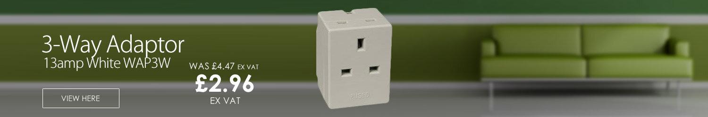 ED 3-Way Adaptor Fused 13amp White WAP3W