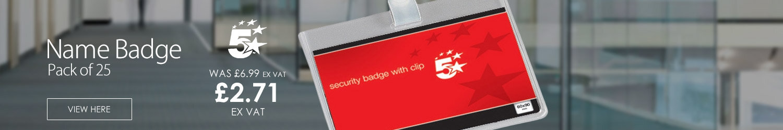 5 Star Name Badge Landscape 90X60mm Pk 25