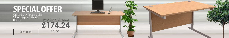 Office Desk Rectangular Silver Legs W1200mm Beech Trexus Contract