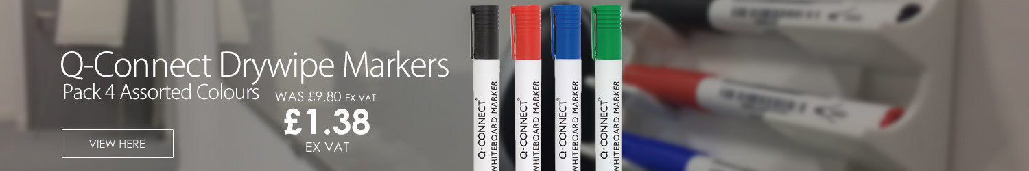 Q-Connect Drywipe Markers Pack of 4 Assorted Colours