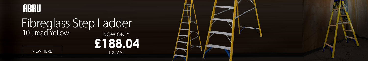 Abru Fibreglass Swingback Step Ladder 10 Tread Yellow 74610
