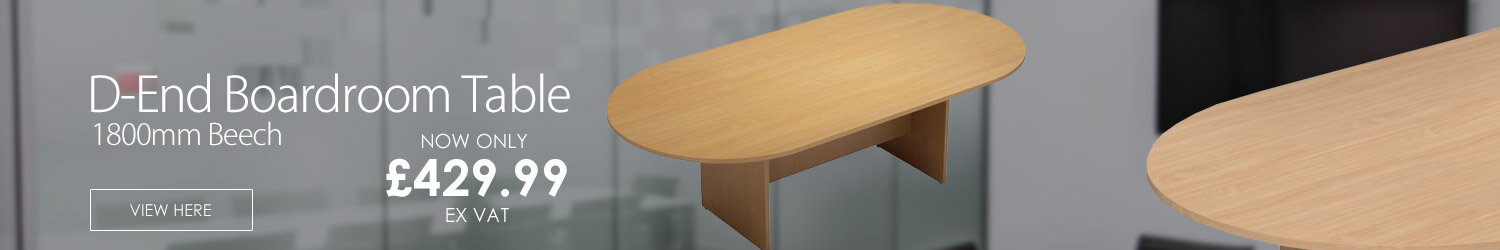 D-End Beech Boardroom Table 1800mm Wide With Panel End Base