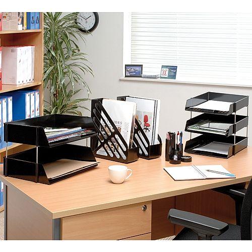 Q Connect Desk Top Tube Tidy Office Pen Pot Organiser Black KF10040