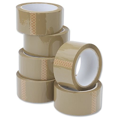 6/_//ROLL BUFF PARCEL PACKING TAPE CARTON SEALING 50MM X 66M