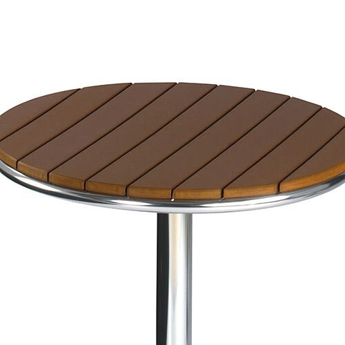 Round Outdoor Patio Table Slatted Teak Wood Effect Top And Aluminium Base Hunt Office Uk