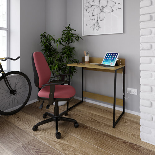 Kyoto Home Office Workstation With Upstand - Summer Oak With Black Frame Additional Image 1