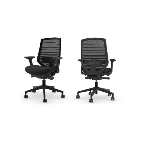 X.77 Office Operator Chair with Mesh Back And Adjustable Lumbar Support Black Additional Image 2