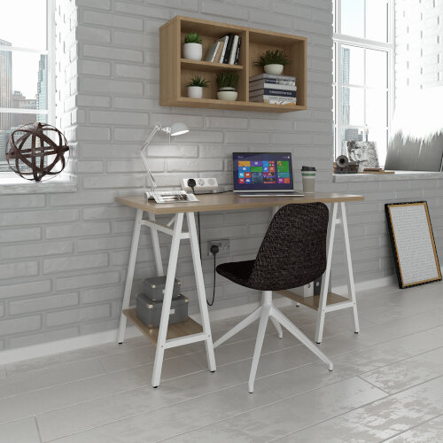 Pella Home Office Workstation With Trestle Legs Windsor Oak Desktop with White Frame W1200xD600xH760mm Additional Image 1