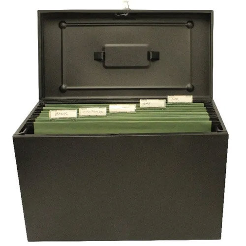 Cathedral Foolscap Black Metal File Box Additional Image 1