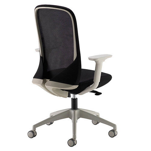 Sway Black Mesh Back Adjustable Operator Chair With Black Fabric Seat, Grey Frame And Base