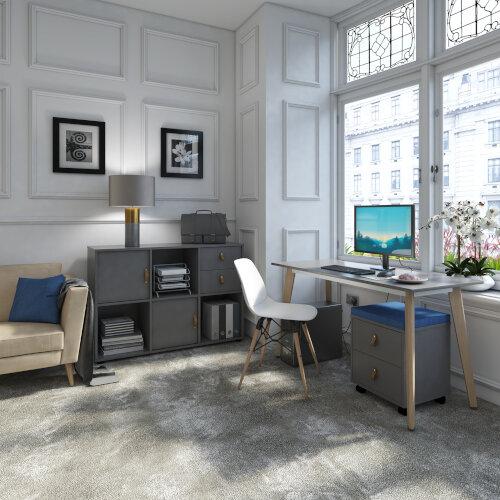 Giza Rectangular Home Office Desk White Desktop & Natural Oak Wooden Legs W1000xD600xH750mm Additional Image 1