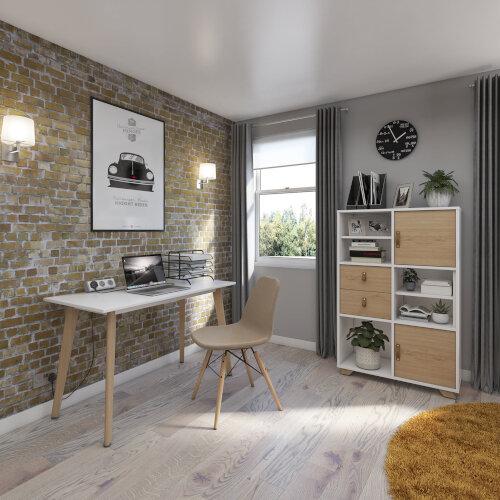 Giza Rectangular Home Office Desk White Desktop & Natural Oak Wooden Legs W1000xD600xH750mm Additional Image 2