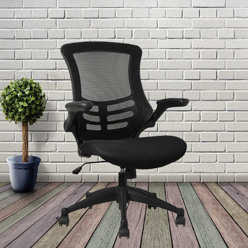 Executive High Back Mesh Office Chair in Black with Armrests and Adjustable Seat - 2 Year Warranty! Additional Image 2