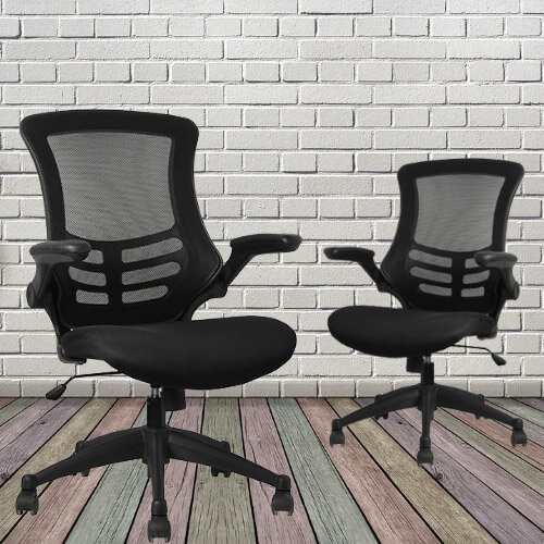 Executive High Back Mesh Office Chair in Black with Armrests and Adjustable Seat - 2 Year Warranty! Additional Image 3