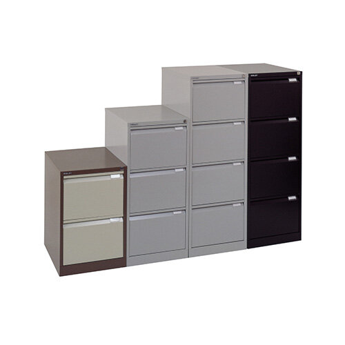 Drawer Steel Filing Cabinet Flush Front Brown Cream Bisley - 4 drawer steel filing cabinet