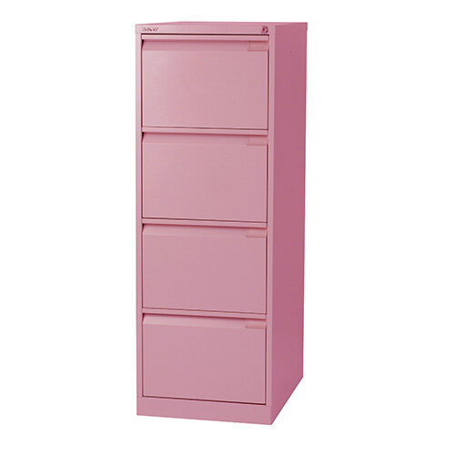 Drawer Steel Filing Cabinet Flush Front Pink Bisley BSE - 4 drawer steel filing cabinet