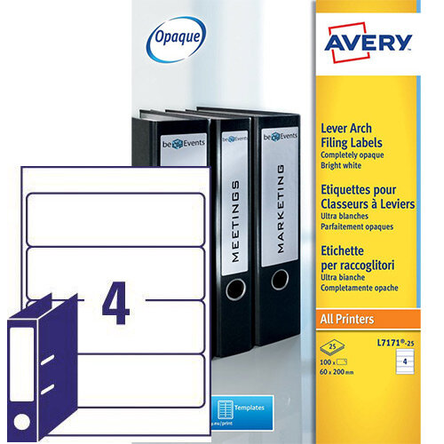 Avery L7171 25 Lever Arch Filing Labels Laser 100 Labels