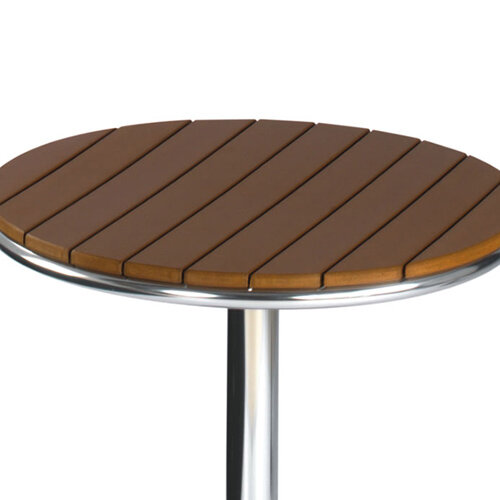 Round Outdoor Patio Table Slatted Teak Wood Effect Top ...