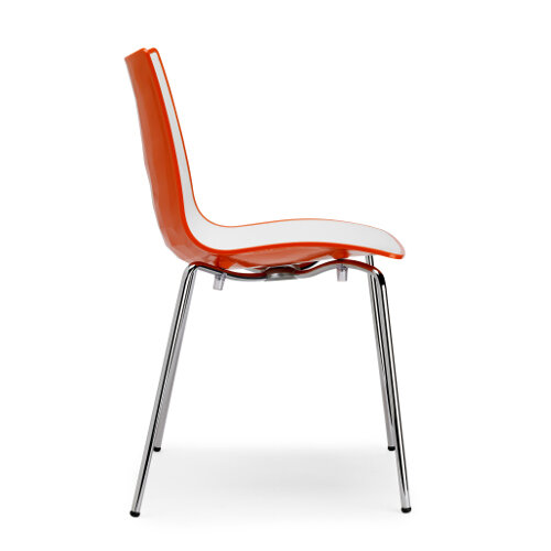 Zebra Bicolore Chrome Leg High Gloss Stacking Canteen Chair White/Orange ...