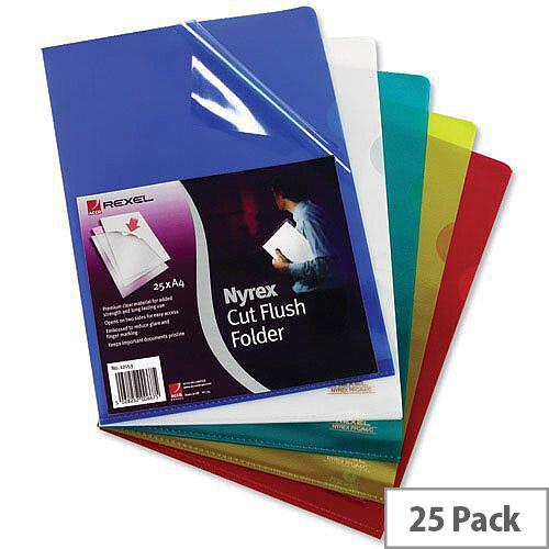 Rexel Nyrex A4 Cut Flush Folder Clear 12153 Pack 25