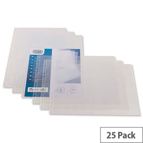 Elba Pocket Polypropylene Multipunched Top-opening A3 Portrait Clear Ref 400005480 Pack 25