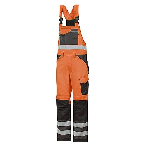 "Snickers 0113 High-Vis Bib &Brace Trousers Class 2 Size 152 36""/6'2"" Hi-Vis Orange/Black"