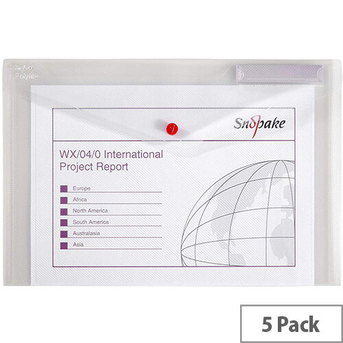 Snopake Polyfile Classic Foolscap Wallet File Clear Pack 5