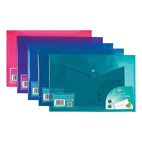Concord Stud Wallet File Vibrant Polypropylene Foolscap Assorted Ref 7089-PFL Pack 5