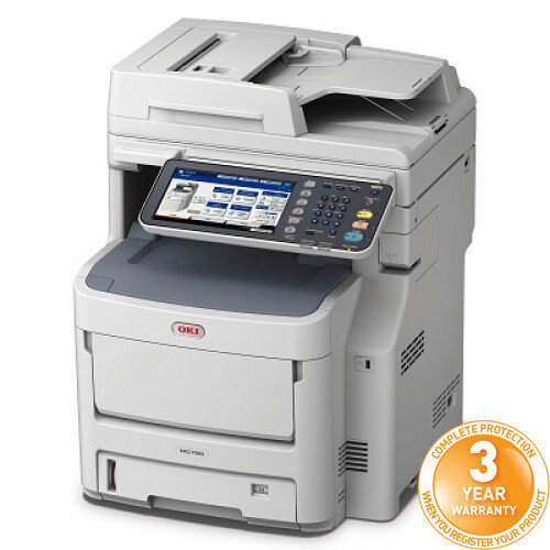 OKI MC760dn Colour Multifunction Laser Printer A4 Duplex Print Copy Scan Fax