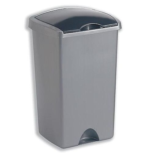 Addis Lift Up Lid Bin Plastic 50 Litres Metallic Silver Ref 015381