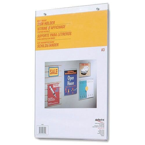 A3 Wall Sign Holder Portrait Clear Deflecto
