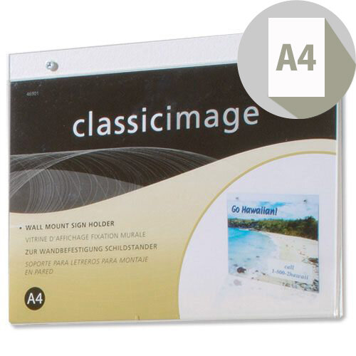 A4 Wall Sign Holder Landscape Clear Deflecto