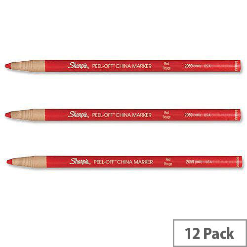 Sharpie China Marker Pencil Red Peel-off Unwraps to Sharpen Pack 12