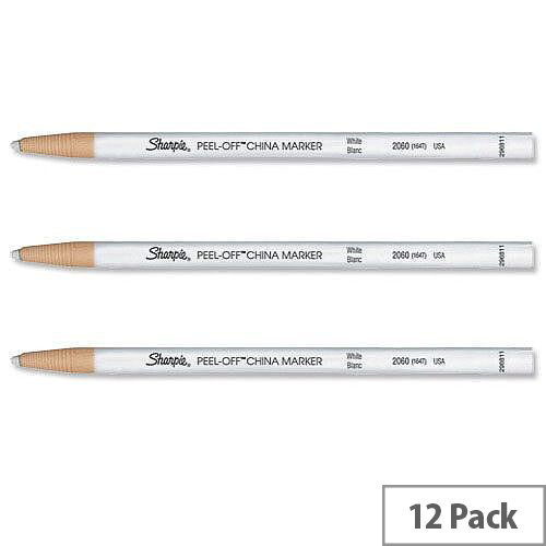 Sharpie China Marker Pencil White Peel-off Unwraps to Sharpen Pack 12