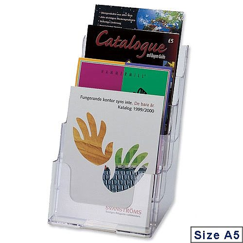 Deflecto A5 Multi Tier Leaflet &Brochure Holder 4 Pockets Clear