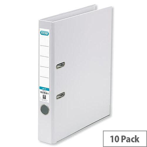 Elba Mini Lever Arch File PVC 50mm Spine A4 White Pack of 10