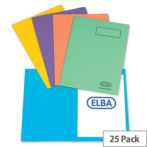 Elba Bright Square Cut Folder Foolscap Assorted 26710 Pack 25