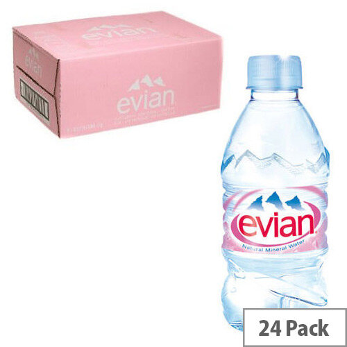 Evian Natural Mineral Still Water 330ml Pack of 24, Low Sodium, Excellent Hydration, Suitable for Mothers & Babies, Recyclable Bottle