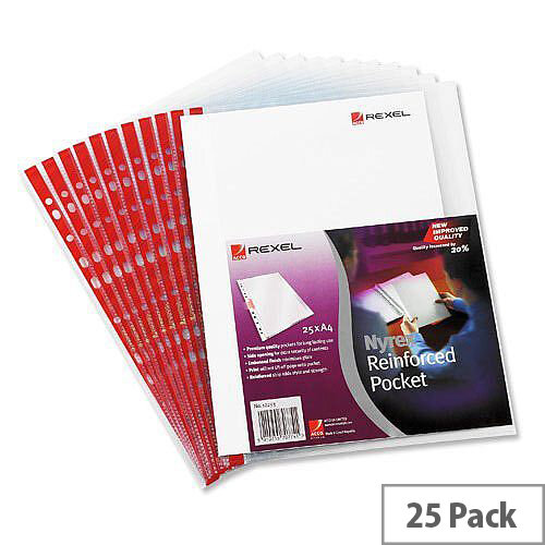Rexel Nyrex Side Opening Punched Pocket A4 Clear Red Strip Pack 25