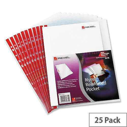 Rexel Side Opening Foolscap Pocket Red Strip Clear Pack 25