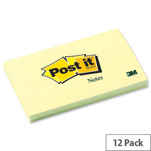 Post-it Notes Canary Yellow 76x127mm Pad of 100 Sheets Pack 12