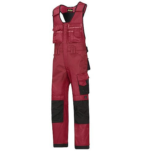 "Snickers 0312 Craftsmen One-piece Trousers DuraTwill Size 146 31""/6'2"" Red/Black"