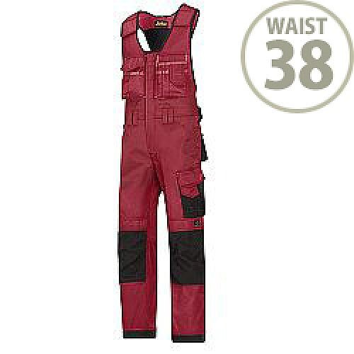 "Snickers 0312 Craftsmen One-piece Trousers DuraTwill Size 154 38""/6'2"" Red/Black"