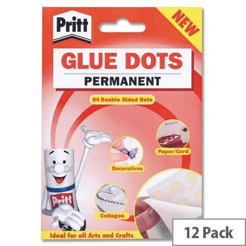 Pritt Permanent Glue Dots 64 per Wallet Pack 12