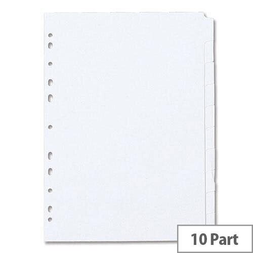 Concord A4 Subject Dividers Punched 11 Holes 10-Part White