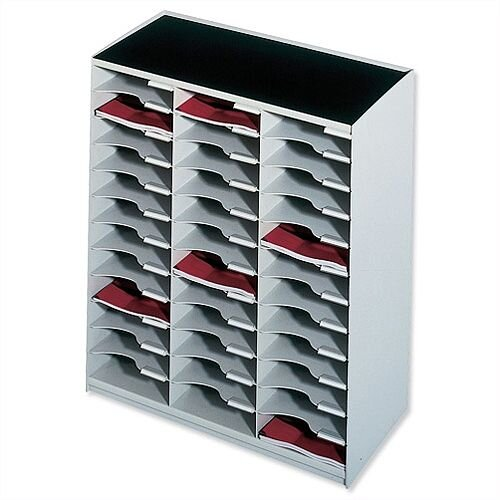 Mailsorter Plastic Mailroom Sorter Stackable 36x A4 Compartments Grey Paperflow Modulodoc