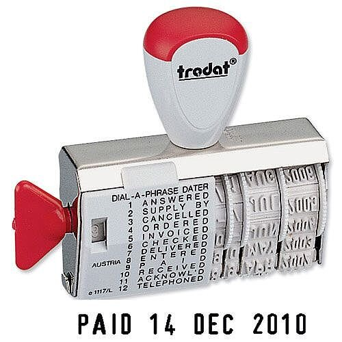 Trodat 1117 Dial-A-Word Line Dater &Phrase Stamp 54345