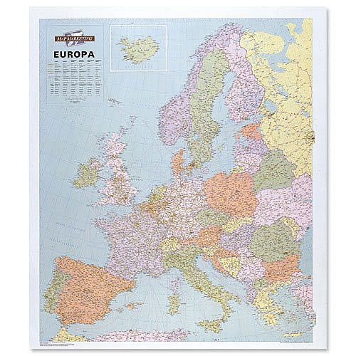 Map Of Europe With Scale.Europe Map Laminated Unframed 64 Miles To 1 Inch Scale Map Marketing